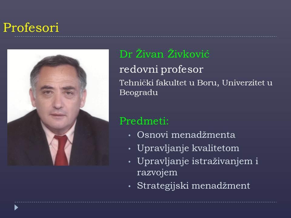 Prof. Zivan Zivkovic