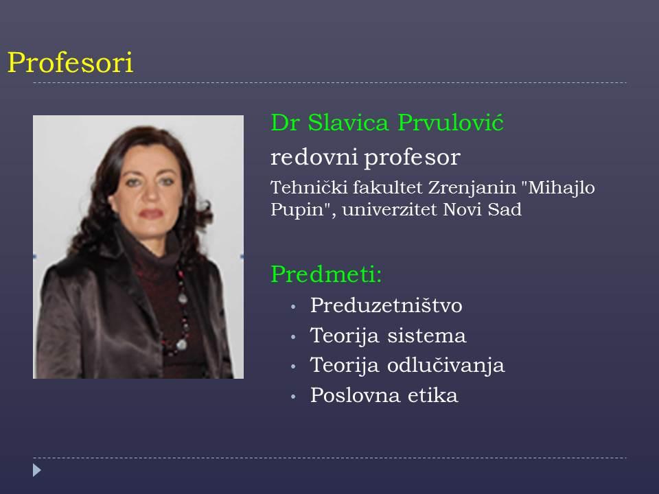 Prof. Slavica Prvulovic