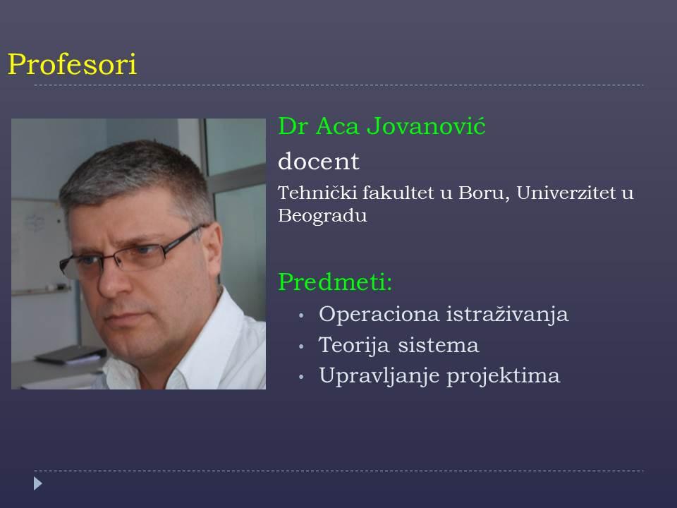 Prof. Aca Jovanovic