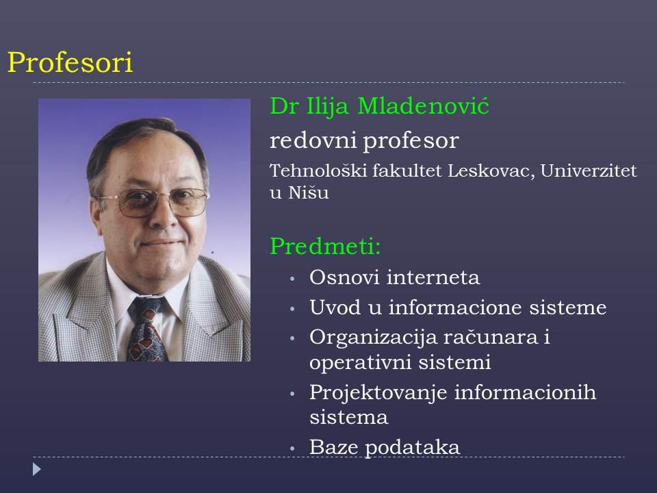 Prof. Ilija Mladenovic