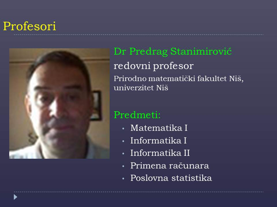 Prof. Predrag Stanimirovic